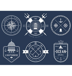 Set of nautical logos badges and labels vector