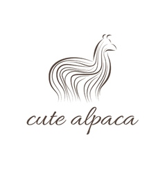 Abstract icon of alpaca vector