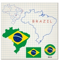 Map and flag of brazil vector