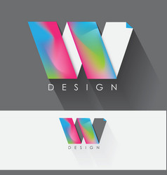 Letter w colorful design element for business vector