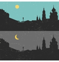 View of the heritage russian city day and night vector