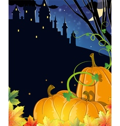 Pumpkins near the old haunted castle vector