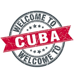 Welcome to cuba red round vintage stamp vector