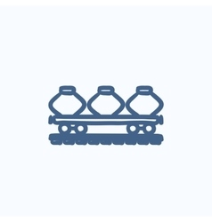 Cargo wagon sketch icon vector