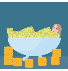 Woman bathing in money filthy rich wealth success vector