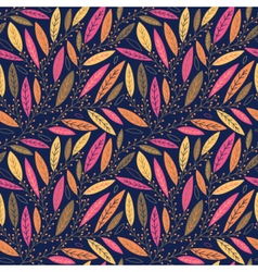 Autumn leaves on branches seamless pattern vector