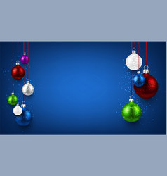 blue background with colorful christmas balls vector image