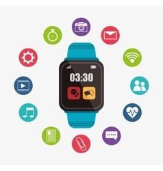 Blue smart watch digital wearable technology vector