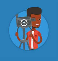 cameraman with movie camera on tripod vector image