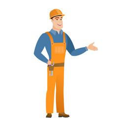 Caucasian builder with tool belt vector