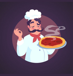 chef of italian appearance and steaming pizza vector image vector image