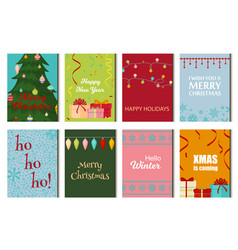 christmas posters set winter card xmas holiday new vector image vector image