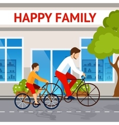 Dad and son on bicycles vector