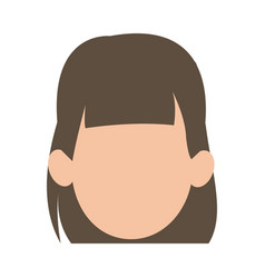 Faceless woman girl cartoon head icon vector