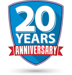 Flat design 20 years anniversary label with red vector image