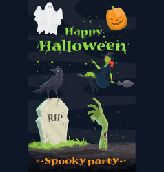 halloween pumpkin and ghost greeting banner design vector image