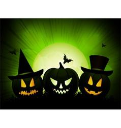 halloween pumpkins on an eery green background vector image