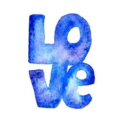 Hand drawn watercolor word LOVE vector image