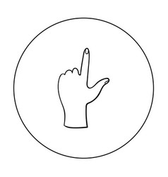 Hand touch icon in outline style isolated on white vector