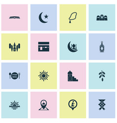 Holiday icons set collection of prayer place vector