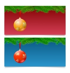Horizontal Christmas banners Fir tree branches vector image vector image