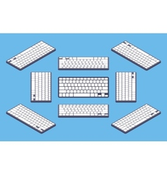 Isometric generic black computer keyboard with vector image