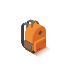 isometric orange school backpack vector image