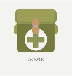 Line tile color hunt and camping icon first vector