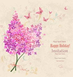 lovely bouquet of Lilac on grunge background vector image vector image