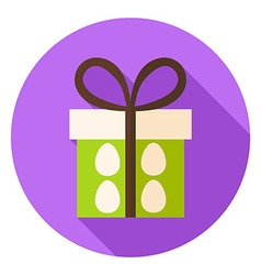 Present Box with Easter Eggs Circle Icon vector image vector image