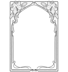 Rectangular decorative frame with art nouveau vector
