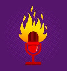retro microphone in fire vector image vector image
