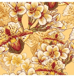 Seamless floral pattern with exotic flowers vector image vector image