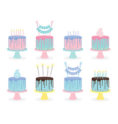 Set of birthday cakes with candles and decoration vector