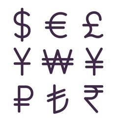 Set of bold currency signs vector image