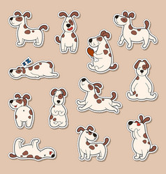 Set of cartoon cute dog stickers doodle patches vector