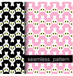 set of seamless pattern with white cat vector image vector image