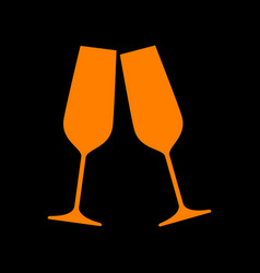 Sparkling champagne glasses orange icon on black vector