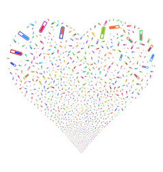 Test tube fireworks heart vector