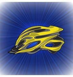 Yellow bike helmet vector