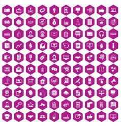 100 data exchange icons hexagon violet vector