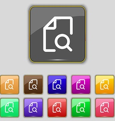 Search documents icon sign set with eleven colored vector