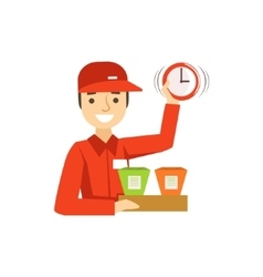 Delivery service worker in red uniform holding vector