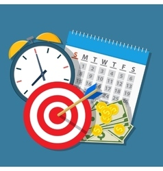Alarm clock calendar target money vector image