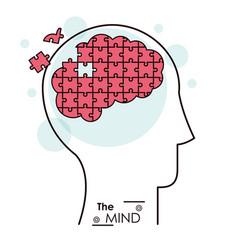 Mind puzzle jigsaw problem brain vector
