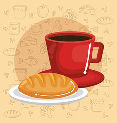 coffee and bread design vector image