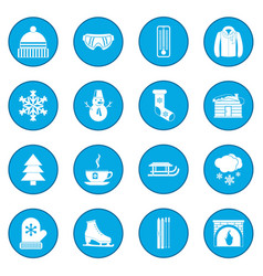 Winter icon blue vector
