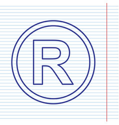 Registered trademark sign  navy line icon vector