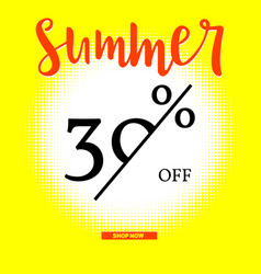 summer sale poster with thirty percent discount on vector image