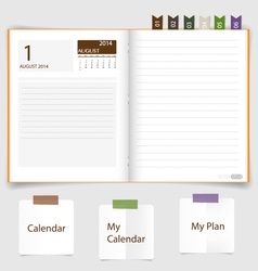 2014 calendar on notebook paper august vector